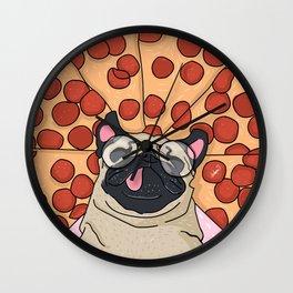 Funny Pug Pizza Wall Clock
