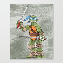 Leonardo TMNT Print - !TURTLE POWER! Canvas Print