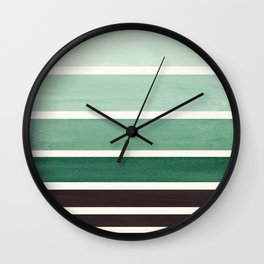 Marine Green Minimalist Mid Century Modern Color Fields Ombre Watercolor Staggered Squares Wall Clock