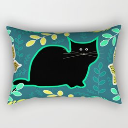 Curious cat and monstera leaves Rectangular Pillow