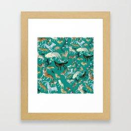 Wolves of the World Green pattern Framed Art Print