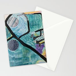 Original abstract art - mixed media - watercolor art, painting, sumi ink, marker photography Stationery Cards