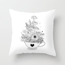 Tea cup with flowers Throw Pillow