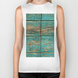 Rustic Teal Boards (Color) Biker Tank