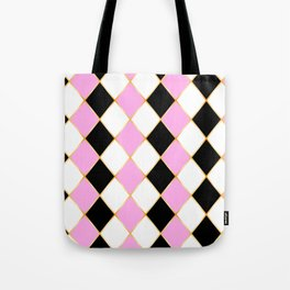 Rhombus in white, pink, black colors, with golden frame. Tote Bag