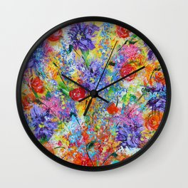 Floral Explosion 2, Floral Home Decor, Bright Colors Wall Clock