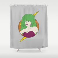 jem Shower Curtains featuring Eighties Samus / Outrageous Hunter / Samus and the Wave Beams by UNDEAD MISTER / MRCLV