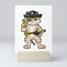 Cat as pirate with dagger and saber Mini Art Print