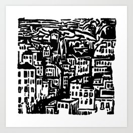 Black and White City  Art Print