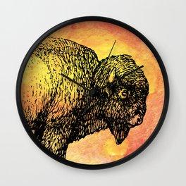 American Bison on Sunset Orange Watercolor Wall Clock