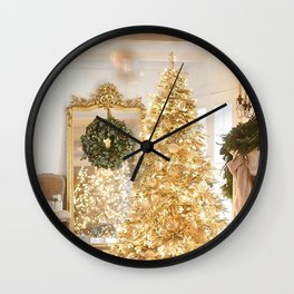 Golden christmas tree Wall Clock