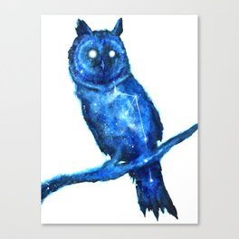 Owl Painting | Space Owl | Owl Constellation | Cosmic Owl | Blue Owl Canvas Print