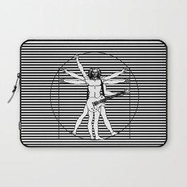 Vitruvian man - Les Paul guitar playing D-Chord (version with strips) Laptop Sleeve