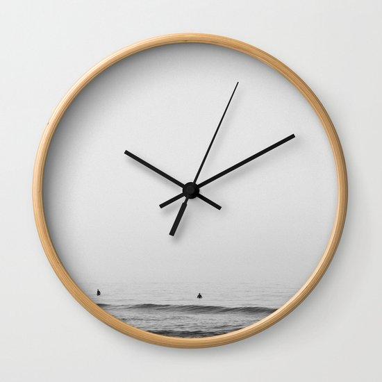 Surfers Black And White Ocean Photography Huntington Beach California Wall Clock By Jasonmeintjes Society6