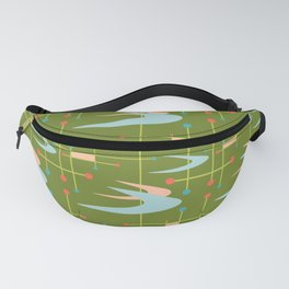 Mid Century Modern Boomerangs on Lime Green Fanny Pack
