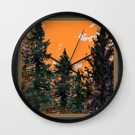 CHARCOAL GREY WESTERN PINE TREES  LANDSCAPE Wall Clock