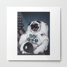 Pug Astronaut Space Dogs Gift Metal Print