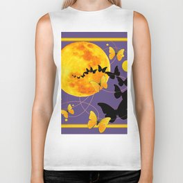 Puce Color Butterfly Full Moon Art Abstract Biker Tank