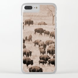 Buffalo Herd in Sepia Clear iPhone Case