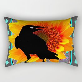 WESTERN CROW SUNFLOWER TURQUOISE-GREY  ART Rectangular Pillow