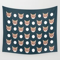 meme Wall Tapestries featuring Orange Taby polka dots for cat lady cat lovers cat person gifts home decor with cat face cat meme by PetFriendly