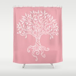 Tree of Life Pink Shower Curtain