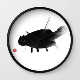 little black cat playing with wool ball, watercolor effect, minimal cat Wall Clock