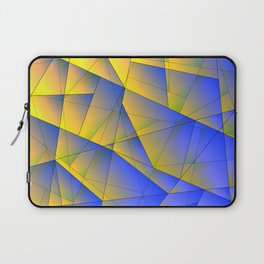 Bright fragments of crystals on irregularly shaped yellow and blue triangles. Laptop Sleeve