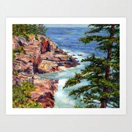 Thunder Hole, Acadia National Park, Maine Coast, acrylic painting by Pamela Parsons, oceean Art Print