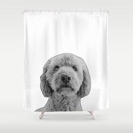 golden doodle b&w Shower Curtain