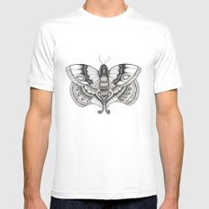 MOTH White MEDIUM Mens Fitted Tee
