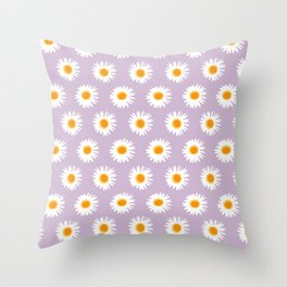 linear daisy pattern spring summer floral Throw Pillow
