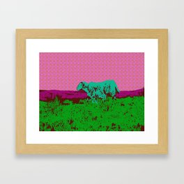 Wild Irish sheep on a mountain - modern pop art photography print Framed Art Print