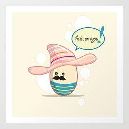 Moustache Egg Art Print