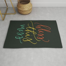 Bless this mess color typography Rug
