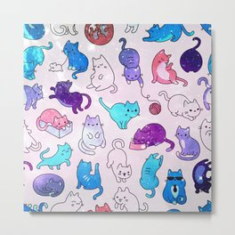 Space Cats Pattern Metal Print