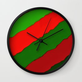 Bright Christmas Diagonal Stripes Wall Clock