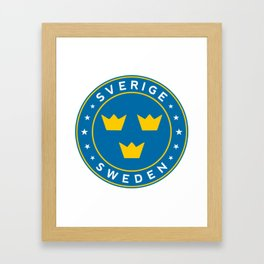 Sweden, Sverige, 3 crowns, circle Framed Art Print