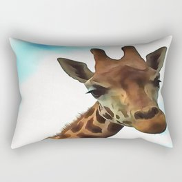 Hello up there! Fun Giraffe With Nerdy Expression Rectangular Pillow