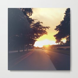 Driving Into The Sunset Metal Print