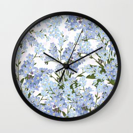 Pastel pink lavender blue watercolor floral Wall Clock