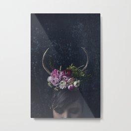 Antlers + Flowers Metal Print