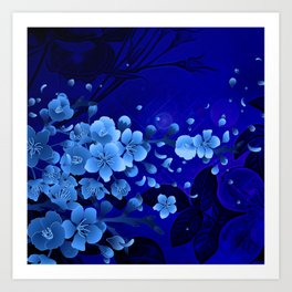 Cherry blossom, blue colors Art Print