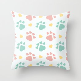 Happy dogs paws Throw Pillow