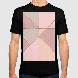 Modern rose gold peach blush pink color block T-shirt