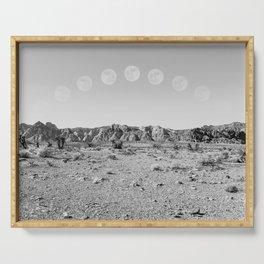 Desert Moon Ridge B&W // Summer Lunar Landscape Teal Sky Red Rock Canyon Rock Climbing Photography Serving Tray
