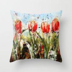 Tulips in Red . Batik Throw Pillow