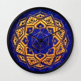 """Cosahedron, sacred geometry""  WATERCOLOR MANDALA (HAND PAINTED) BY ILSE QUEZADA Wall Clock"
