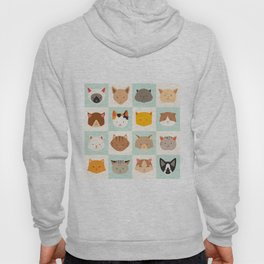 Set of cute cats icons, vector flat illustrations. Cat breeds, pattern, card, game graphics Hoody