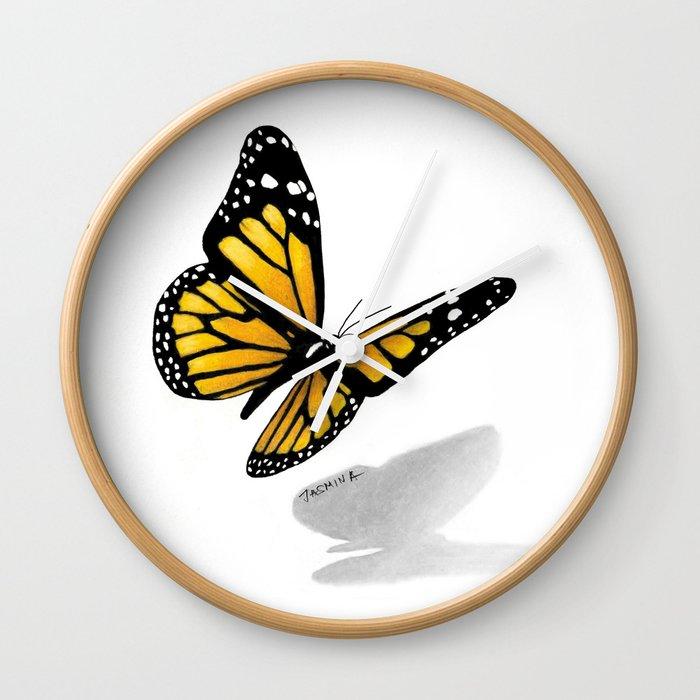 3d Butterfly Drawing Wall Clock By Jasminasusakprints